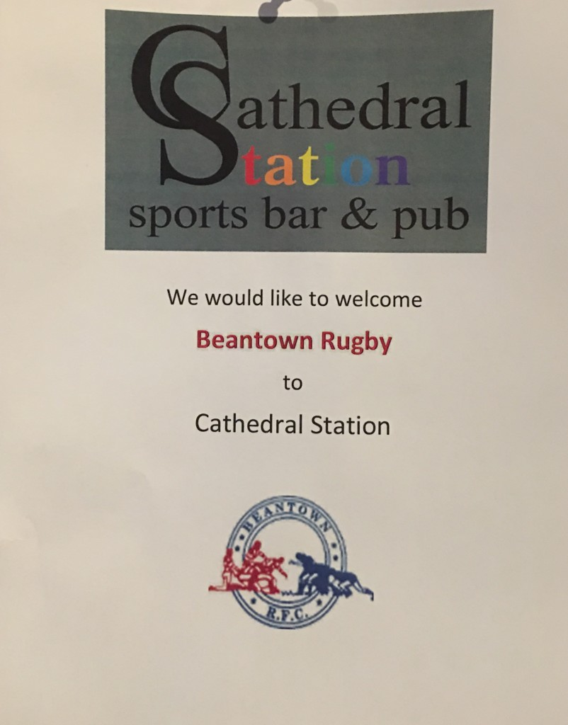 Flier from cathedral station for beantown rugby